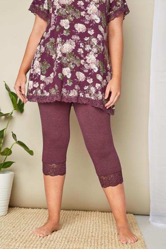 Plus Size Pyjamas Purple Lace Cropped Loungewear Leggings