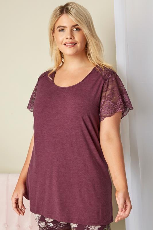Plus Size Loungewear Purple Lace Loungewear Top
