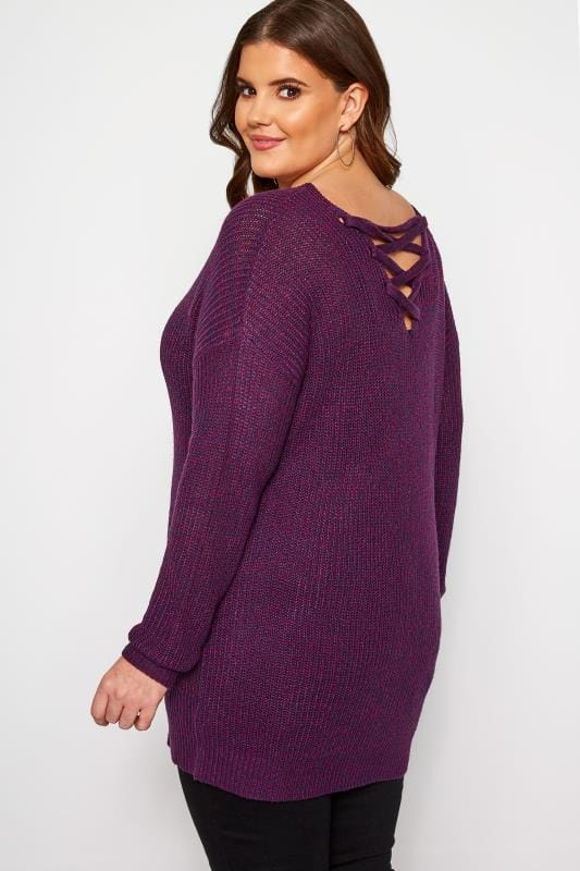 Plus Size Knitted Tops & Jumpers Purple Lattice Back Twist Knit Jumper