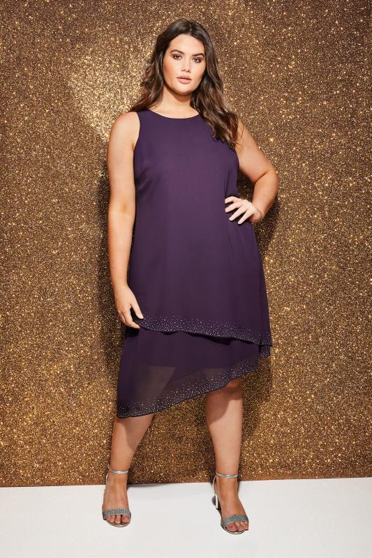 Purple Layered Asymmetric Swing Dress With Diamante Detail