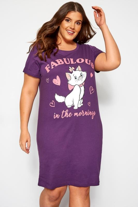 Plus Size Nighties Purple Marie 'Fabulous' Aristocats Nightdress