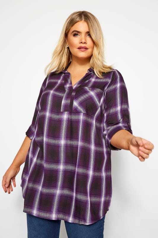 Plus Size Blouses & Shirts Purple Overhead Check Shirt