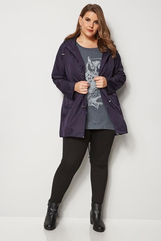 Purple Pocket Parka Jacket With Hood