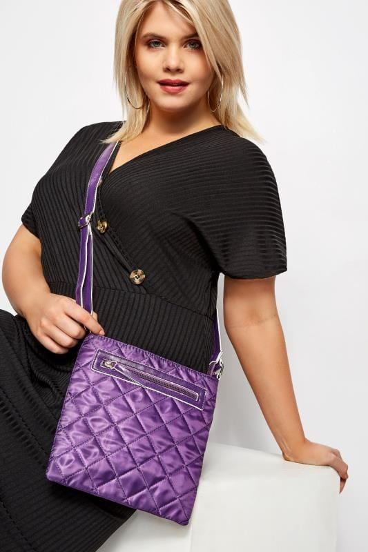 Bags & Purses Purple Quilted Cross Body Bag