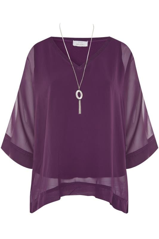 Plus Size Party Tops YOURS LONDON Purple Chiffon Cape Top