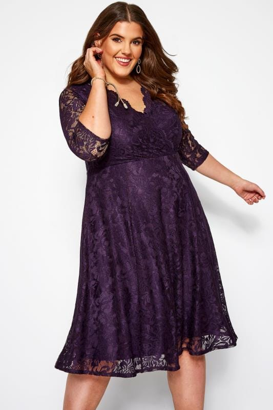 Purple Scalloped Lace Dress | Yours Clothing