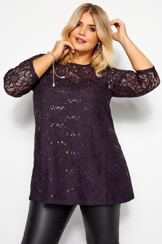 Lace Tops dla puszystych Purple Sequin Lace Swing Top