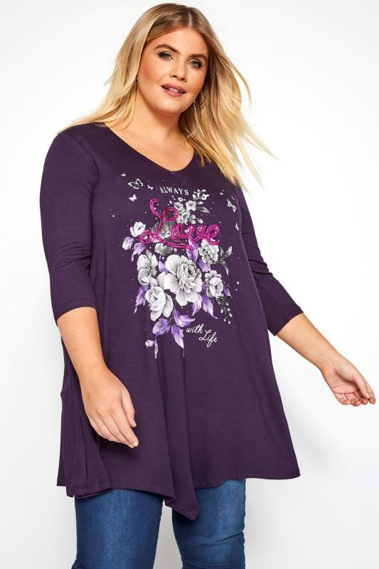 Plus Size Slogan T-Shirts Purple Sequin 'Love' Slogan Print Top