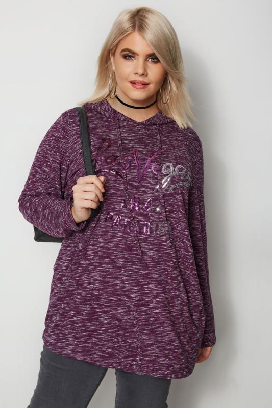 Plus Size Sweatshirts Purple Sequin Sweatshirt
