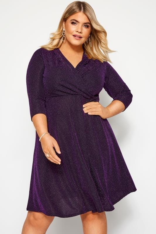 Plus Size Going Out Dresses Purple Sparkle Skater Dress