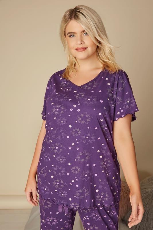 Plus Size Pyjamas Purple Star Print Pyjama Top