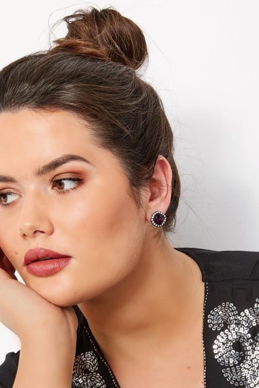 Большие размеры | Plus Size Jewellery Purple Stone & Diamante Stud Earrings