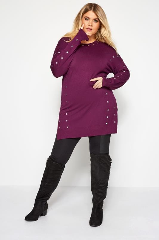 Plus Size Knitted Tops & Jumpers Purple Stud Trim Knitted Tunic Jumper