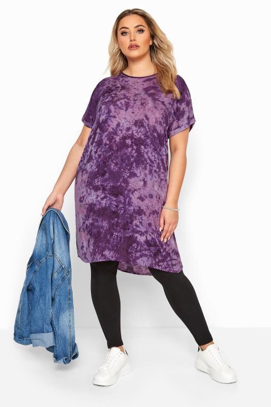 Purple Tie Dye Dipped Hem Tunic