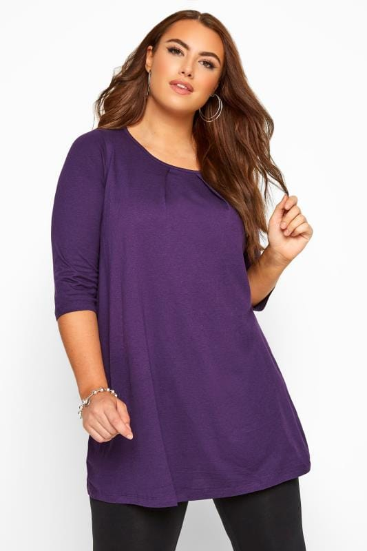 Purple Tunic With Pleated Front
