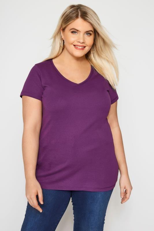 Plus Size Basic T-Shirts & Vests Purple V-Neck T-Shirt