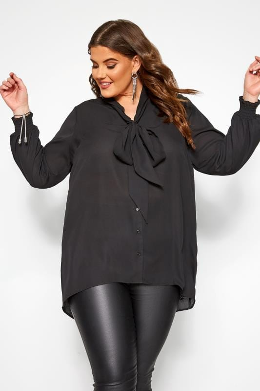 Plus Size Blouses YOURS LONDON Black Bow Chiffon Blouse