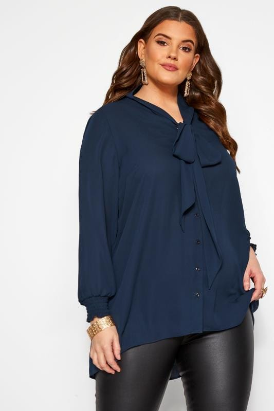 Plus Size Blouses YOURS LONDON Navy Bow Chiffon Blouse