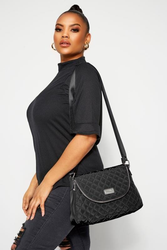 Cross Body Bags Black Quilted Cross Body Bag