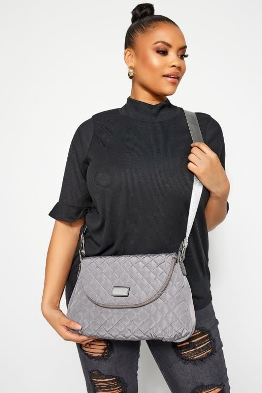 Cross Body Bags Grey Quilted Cross Body Bag