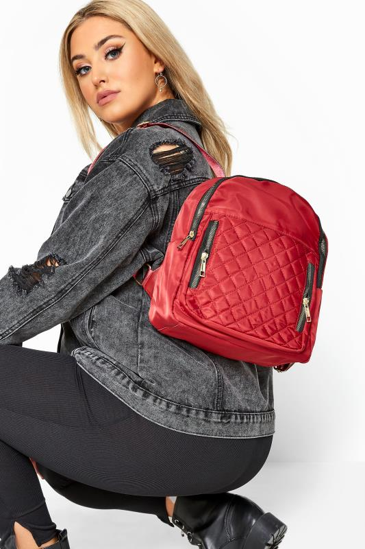 Face Masks Red Quilted Backpack
