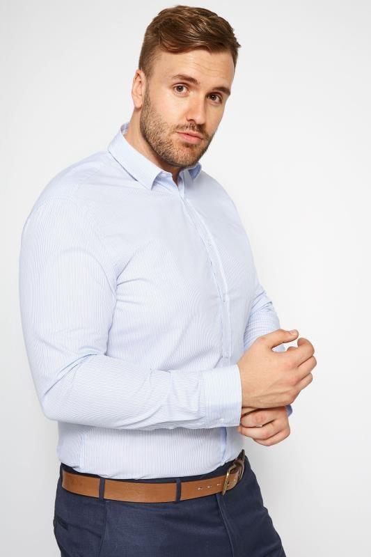 Smart Shirts Tallas Grandes RACING GREEN Blue Striped Shirt
