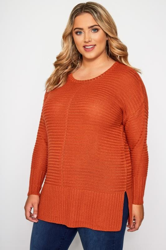 Plus Size Sweaters Burnt Orange Ribbed Knitted Jumper