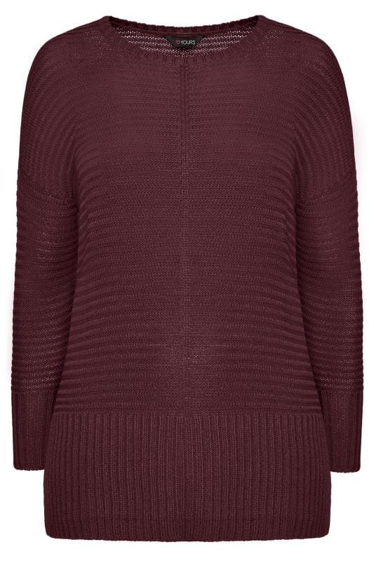 Berry Ribbed Knitted Jumper