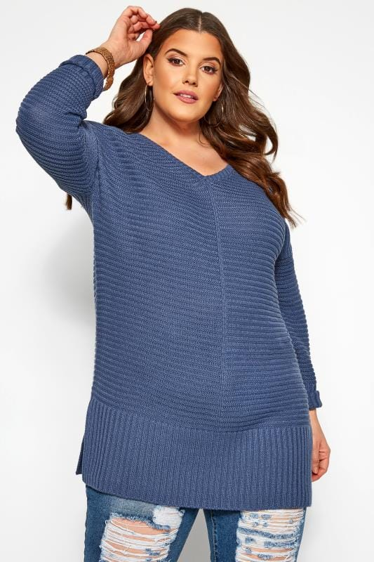 Plus Size Jumpers Blue Ribbed Longline Jumper