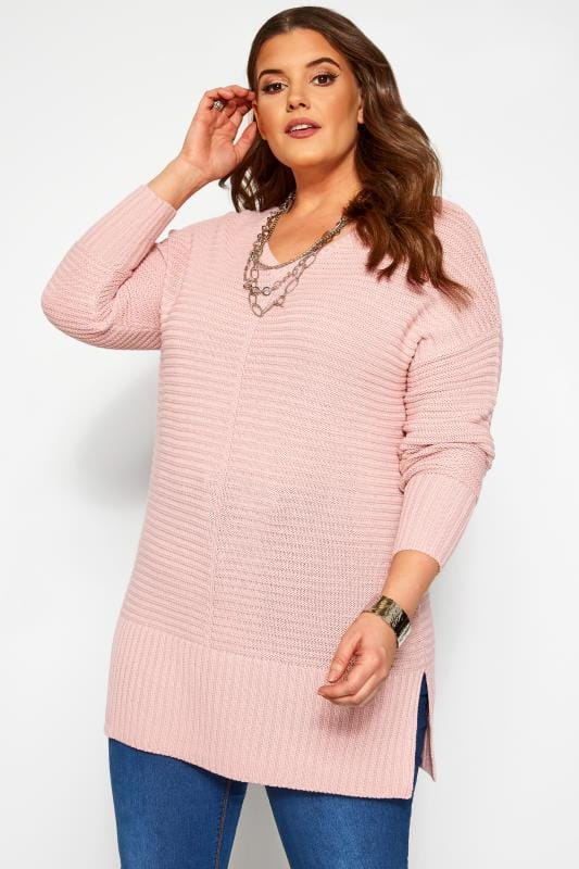 Plus Size Sweaters Light Pink Ribbed Longline Jumper