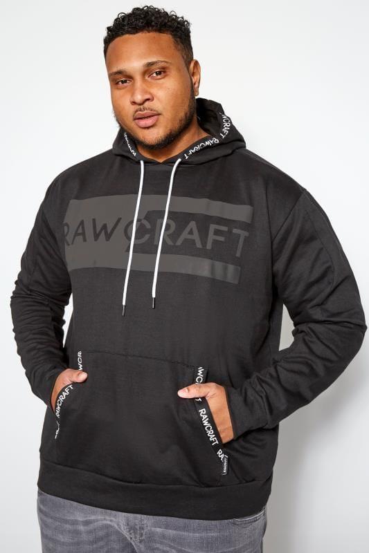 Plus Size Hoodies RAWCRAFT Black Logo Hoodie