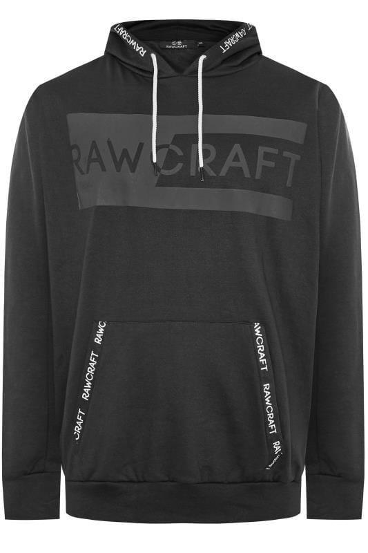 Große Größen Hoodies RAWCRAFT Black Logo Hoodie