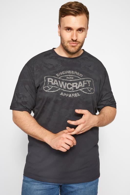 Plus Size T-Shirts RAWCRAFT Black Slogan T-Shirt