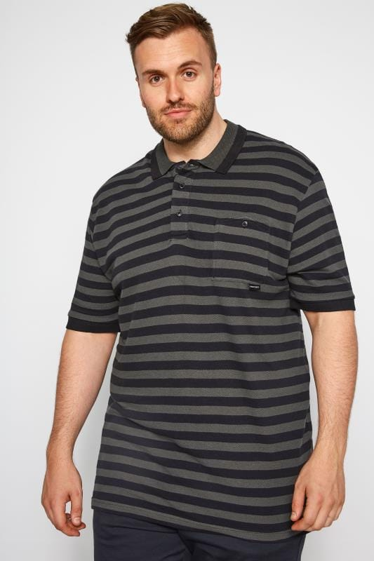 Polo Shirts RAWCRAFT Black Striped Polo Shirt 201151