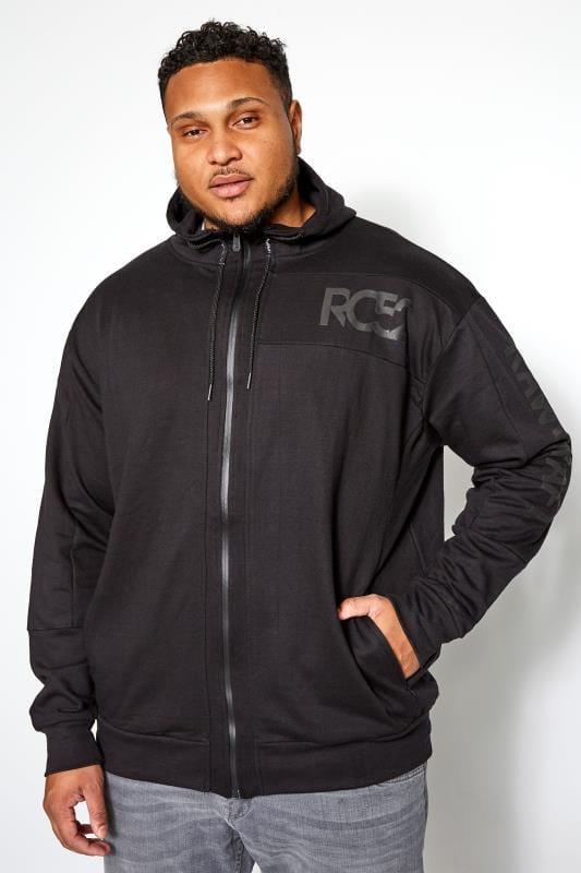 Plus Size Hoodies RAWCRAFT Black Zip Through Hoodie