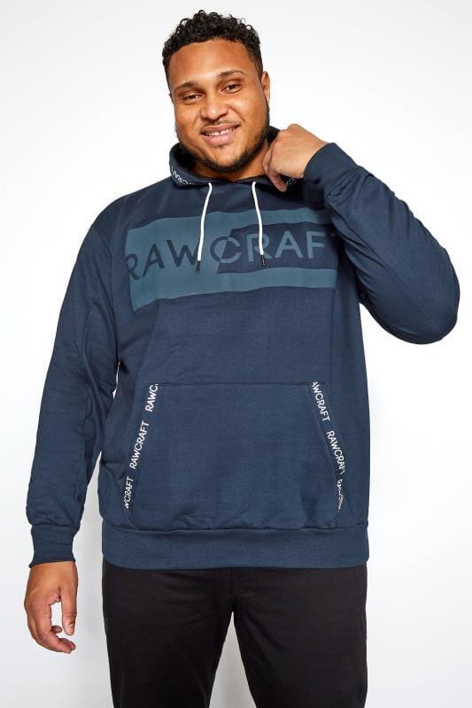 Plus Size Hoodies RAWCRAFT Blue Logo Hoodie