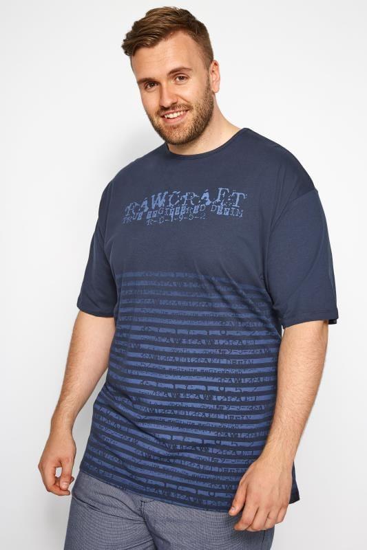 Große Größen T-Shirts RAWCRAFT Blue Striped T-Shirt