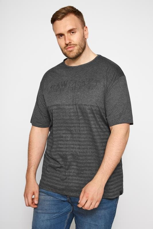 T-Shirts Grande Taille RAWCRAFT Charcoal Printed T-Shirt
