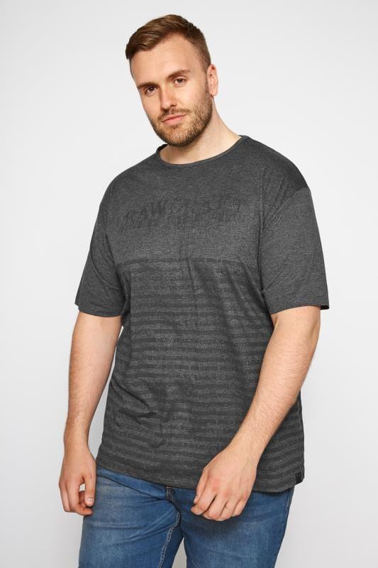 Plus Size T-Shirts RAWCRAFT Charcoal Printed T-Shirt