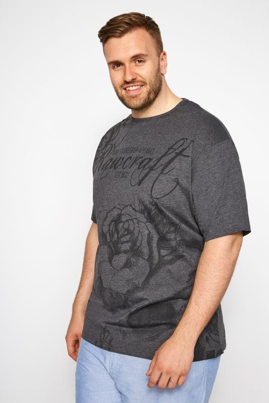 RAWCRAFT Charcoal Skull & Roses Print T-Shirt