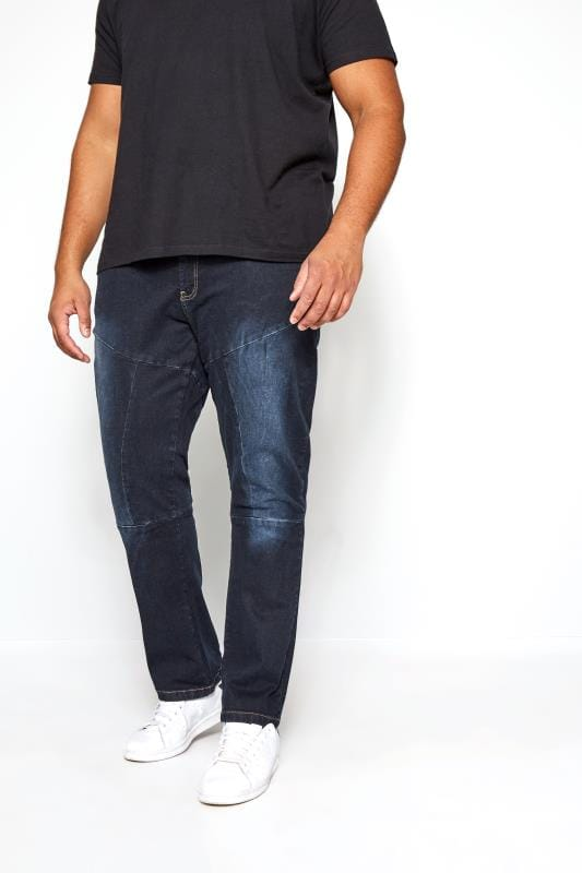 Jeans Coupe Droite Grande Taille RAWCRAFT Darkwash Straight Leg Jeans