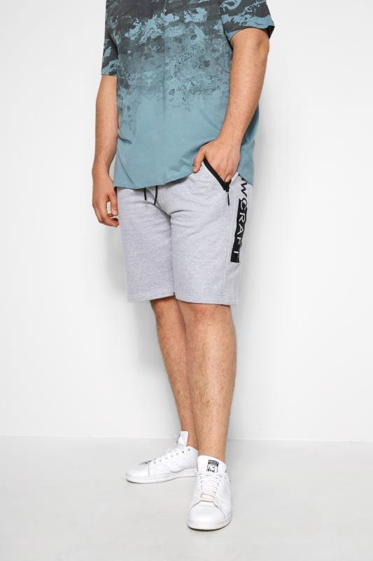 Plus Size Jogger Shorts RAWCRAFT Grey Marl Sweat Shorts