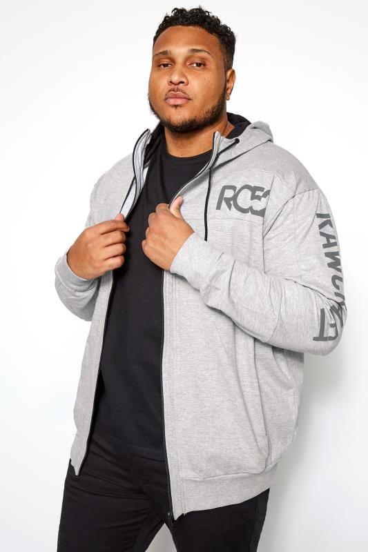Plus Size Hoodies RAWCRAFT Grey Marl Zip Through Hoodie