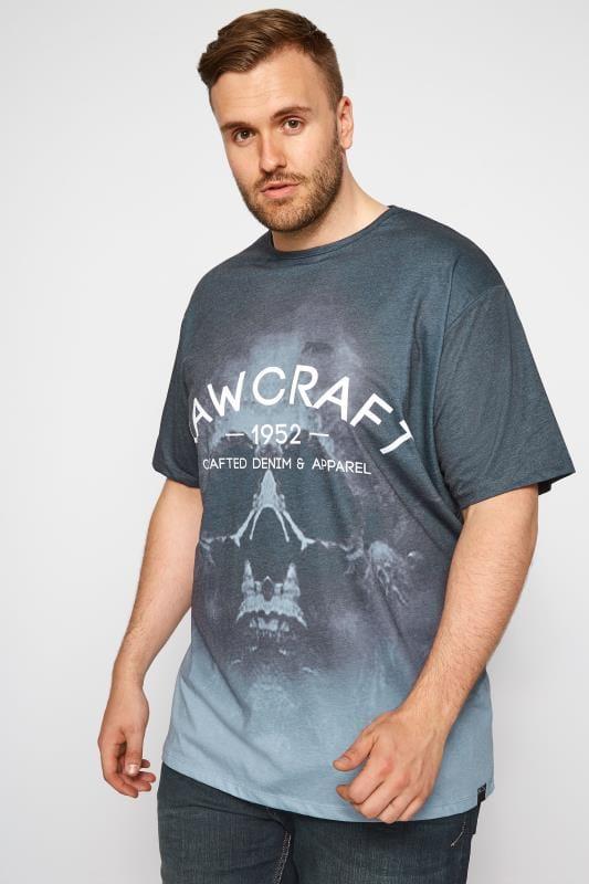 RAWCRAFT Grey Skull Print T-Shirt