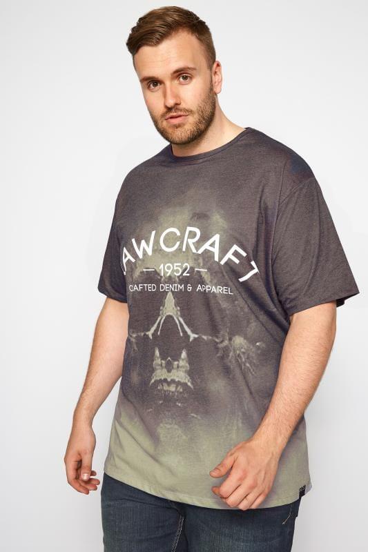 Plus Size T-Shirts RAWCRAFT Khaki Skull Print T-Shirt