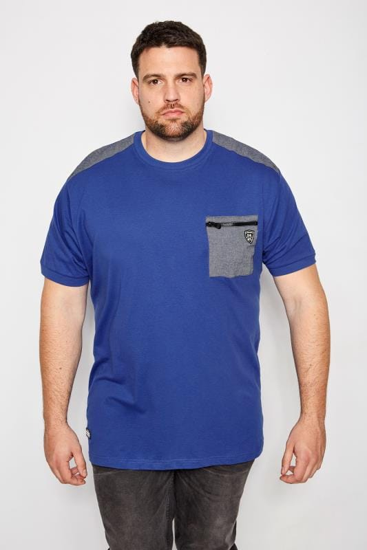 Plus Size T-Shirts RAWCRAFT Royal Blue Traffic T-Shirt