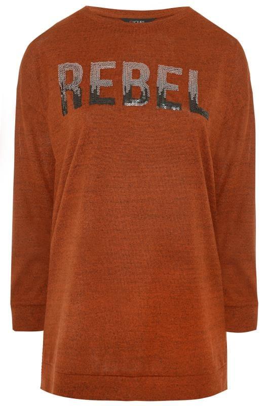 """Sweatshirt mit """"Rebel"""" Pailletten-Schriftzug - Rost"""