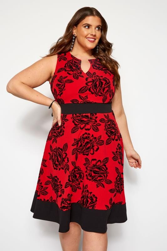 Robes Patineuses Grande Taille Robe Rouge & Noire Imprimé Floral Style Patineuse