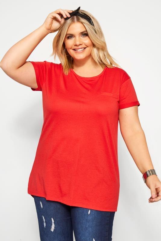 Plus Size Basic T-Shirts & Vests Red Pocket T-Shirt