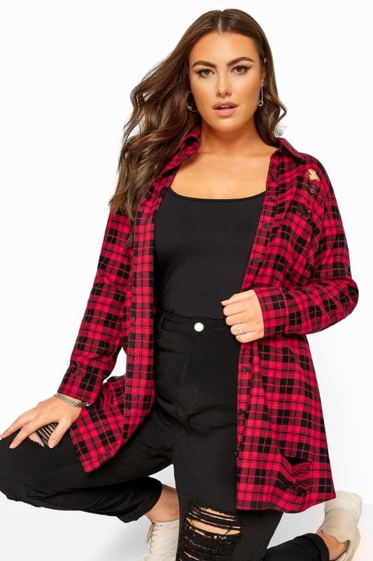 Plus Size Checked Shirts Red Distressed Check Shirt